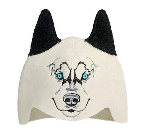 Natural Textile Saunahut für Kinder 'Sauna Wolf' White -...
