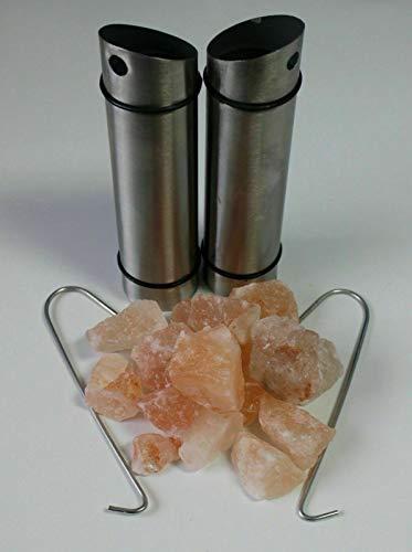 Sauna & Dampfbad Deluxe Edelstahl Salzkristall Halter inkl. rosa Salzkristalle (aus Pakistan - auch unter Himalaya Salz bekannt) und Halterung für Saunaofen