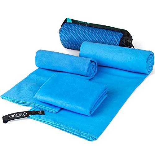 vetoky Mikrofaser Handtücher, Schnelltrocknend Mikrofaser Handtuch (3 Größen und 2 Farben) Ultra Saugfähig Ultraleicht Antibakteriell für Sauna, Fitness, Sport Blau...