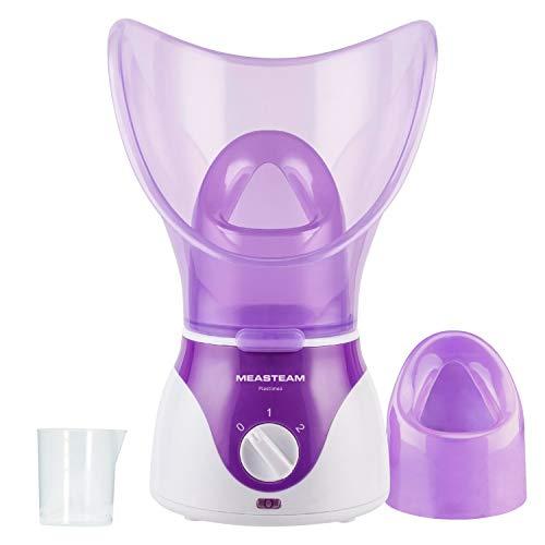 Gesichtssauna MEASTEAM® Beauté • Facial Steamer 2in1 Dampfgerät zur Hauptpflege & Aromabehandlung - 2 Aufsätze für Gesicht + Nase zum Inhalieren + Porenreiniger gegen...