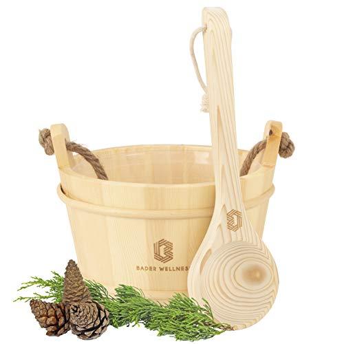 Bader Wellness® Sauna komplett Set (5 Liter Sauna Kübel) - Sauna Eimer aus naturbelassenem Holz - Sauna Zubehör, Saunakübel, Aufgusseimer - Wellness Aufguss Komplett Paket