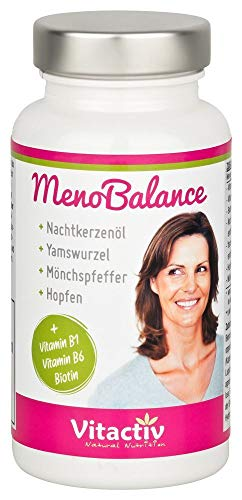 MenoBalance für die Wechseljahre, mit Nachtkerzenöl, Yamswurzel, Mönchspfeffer, natürlich und hormonfrei gegen Symptome der Menopause, 60 Kapseln
