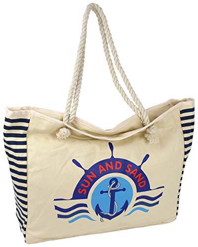 Strandtasche Badetasche aus Canvas - große Saunatasche mit Kordel-Griff - maritimes Motiv