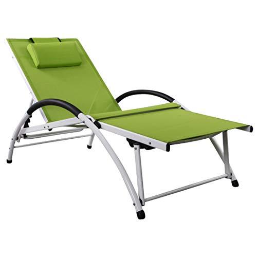 ASS Gartenliege Sonnenliege Fitnessliege stabile Aluminium Konstruktion mit atmungsaktiven Kunststoffgewebe und Kopfpolster FIT-GRÜN