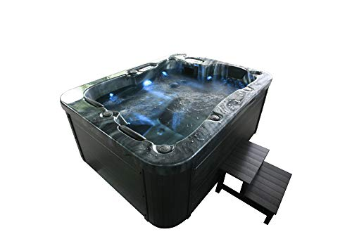 Home Deluxe - Outdoor Whirlpool Black Marble Plus Treppe und...