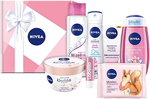 NIVEA Geschenkbox Rosa, Pflegeset mit Shampoo,...