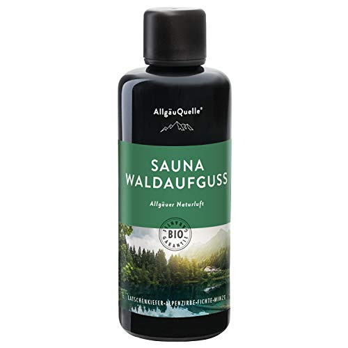 AllgäuQuelle Saunaaufguss mit 100% BIO-Öle Waldaufguss Fichte Latschenkiefer Alpenzirbe Minze (100ml). Natürlicher Sauna-aufguss mit Sauna-ätherische-Öle im...