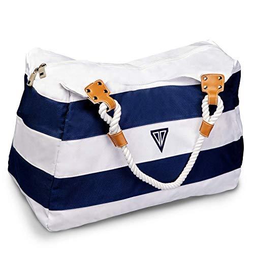 WildStage XL Strandtasche mit Reißverschluss - 45 x 24 x 36 cm - Hochwertige Schultertasche mit Innentasche - Saunatasche - Umhängetasche - Tragetasche - Damen Shopper -...