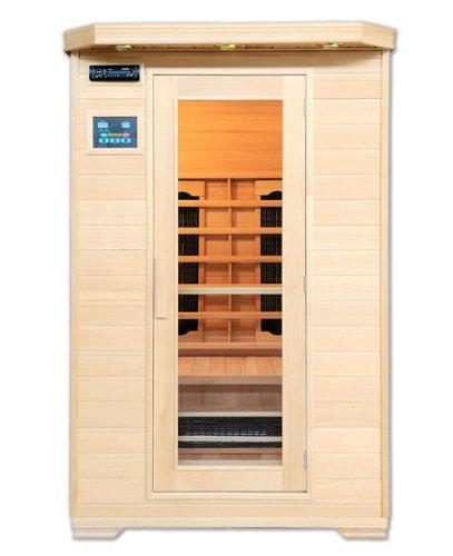 Artsauna Infrarotkabine Oslo mit Keramikstrahler | 2 Personen Sauna Kabine aus Hemlock Holz | 120 x 100 cm |...