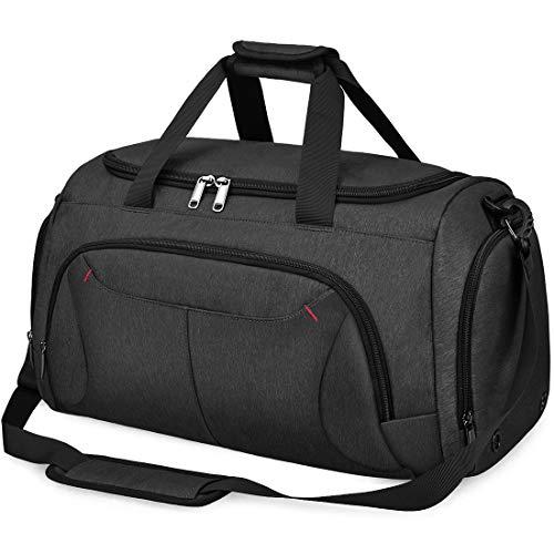 NUBILY Sporttasche Herren Reisetasche Weekender mit Schuhfach Große Wasserdicht Fitnesstasche Trainingstasche Gym Sport Tasche Handgepäck für Männer und Frauen 40L Schwar