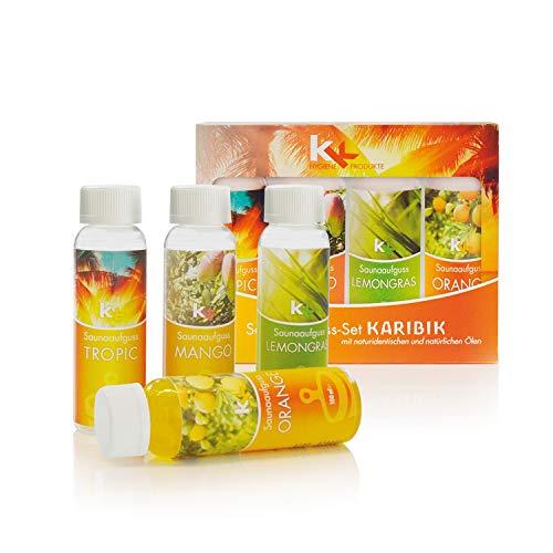 KK Saunaaufguss-Set Karibik - Made in Germany - 4 verschiedene Duftsorten in einem Set - Tropic, Mango, Lemongras, Orange - 100ml Flasche - in verschiedenen Varianten...