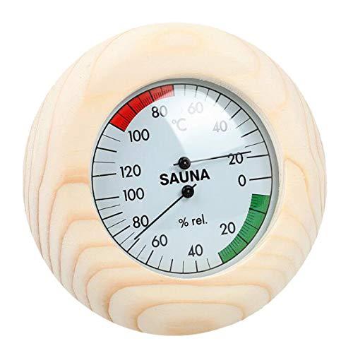 perfk Rundes Digitales Sauna Holzthermometer Hygrometer Saunaraumzubehör 14,5 Cm