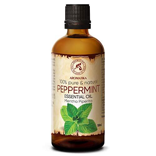 Pfefferminzöl Ätherisches Öl - 100% Ätherisches Öl Minze 100ml - Mentha Piperita - Minzöl Für Guten Schlaf - Stressabbau - Raumduft - Aroma Diffuser - Duftlampe -...