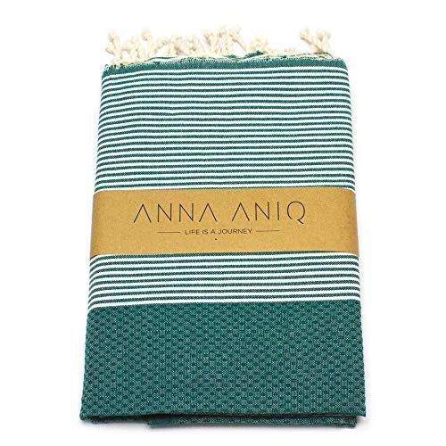 ANNA ANIQ Hamamtuch Fouta Sauna-Tuch XXL Extra Groß 200 x 100cm - 100% Baumwolle aus Tunesien als Strand-Tuch, orientalisches Bade-Tuch, Picknick, Yoga, Schal, Pestemal,...