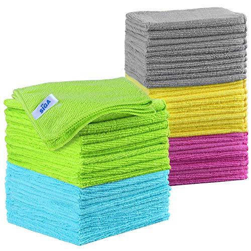 MR.SIGA Mikrofaser-Reinigungstücher Lappen Putztücher Fenster Tücher Mikrofasertücher Geschirrtücher, 50er Set, 30 x 30 cm