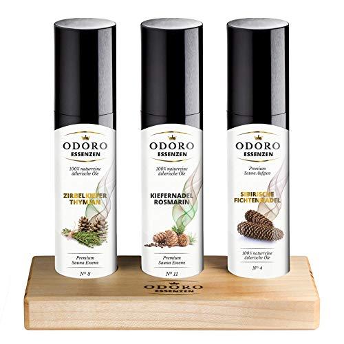 Saunaaufguss Duft Set inkl. Holzständer - 100% ätherische Öle – Fichtennadel, Kiefernadel, Zirbelkiefer – Premium Aufguss Konzentrat Geschenkset – Natürliches...