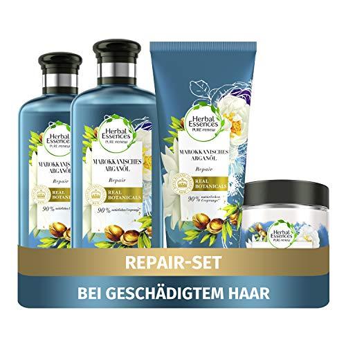 Herbal Essences PURE:renew Haarpflege Set: 2x Marokkanisches Arganöl, Repair Shampoo 250 ml + 1x Pflegespülung 200 ml + 1x Haarmaske 250 ml, Haarpflege Arganöl, Haarpflege...
