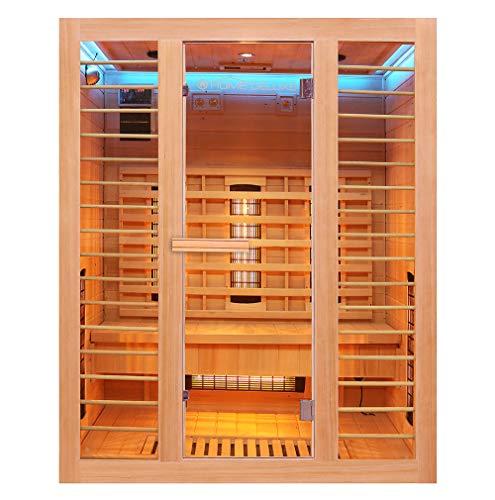 Home Deluxe – Infrarotkabine Redsun L Deluxe - Vollspektrumstrahler und Karbon-Flächenstrahler, Holz: Hemlocktanne, Maße: 153 x 110 x 190 cm | Infrarotsauna für 2-3...