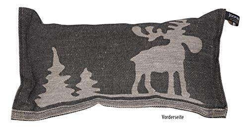 JOKIPIIN | 1 Saunakissen und Reisekissen ELCH, 40 x 22 cm, Leinen/Baumwolle, Made in Finland (schwarz/Natur)