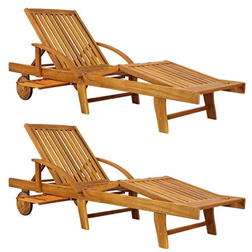 Deuba Sonnenliege Tami Sun 2er Set Akazien Holz verstellbar Tisch klappbar Gartenliege Holzliege Garten Liege