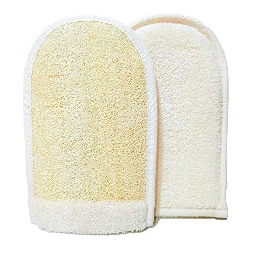 EuropeanM6 Luffaschwämme Peeling-Handschuh, hochwertig, doppelseitig, groß, aus natürlichem Bio-Luffa und weicher Baumwolle, toller Handschuh, tiefer...
