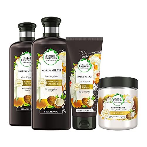 Herbal Essences PURE:renew Haarpflege Set: 2x Kokosmilch, Feuchtigkeit Shampoo 250 ml + 1x Pflegespülung 200 ml + 1x Haarmaske 250 ml, Coconut Milk, Kokos, Haarpflege Glanz,...