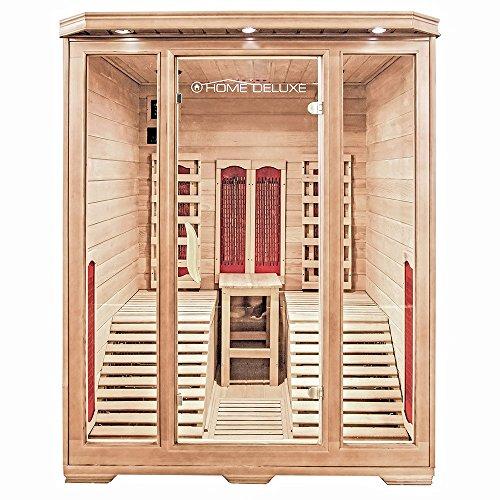 Home Deluxe – Infrarotkabine – Maui – Keramikstrahler– Holz: Hemlocktanne - Maße: 150 x 150 x 190 cm...