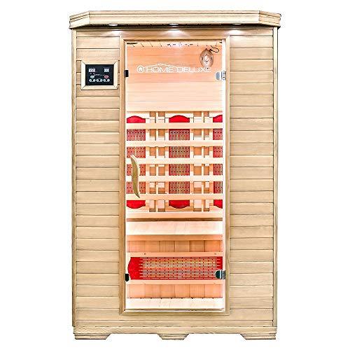 Home Deluxe – Infrarotkabine – Redsun M – Vollspektrumstrahler – Holz: Hemlocktanne - Maße: 120 x 105 x 190 cm – inkl. vielen Extras und komplettem Zubehör |...
