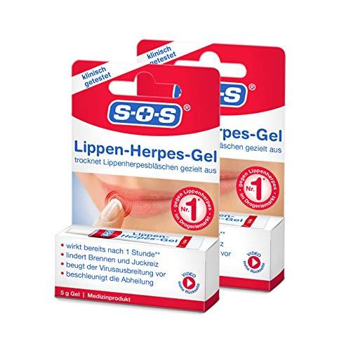 SOS Lippen-Herpes-Gel, 2 x 5g Tube, Linderung von Schmerzen und Juckreiz bei Lippenherpes, unterstützt den Heilungsprozess bei Herpes mit Silicium-Gel