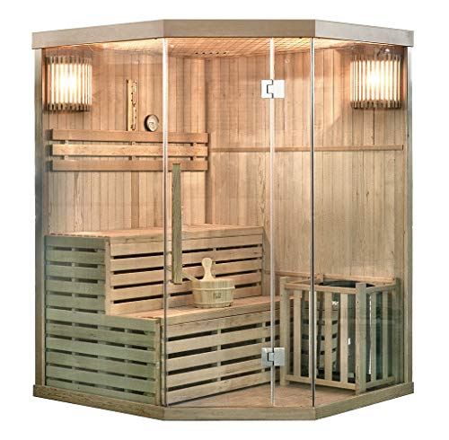 Home Deluxe - Traditionelle Sauna - Skyline XL - Holz: Hemlocktanne - Maße: 150 x 150 x 210 cm - inkl. komplettem Zubehör