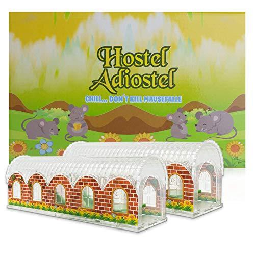 Hostel Adiostel Mausefalle lebend - im fröhlich bunten Design - Superleicht Mäuse fangen mit der Lebendfalle - auch für kleinere Mäuse und Ratten geeignet - 2er Set