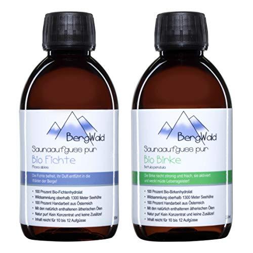Sauna-Aufguss | 100% bio | Saunaduft mit natürlichen ätherischen Ölen für Saunaaufgüsse | Biozertifiziert aus Wildsammlung | Naturprodukt ohne Zusätze | 250 ml (BergWald...