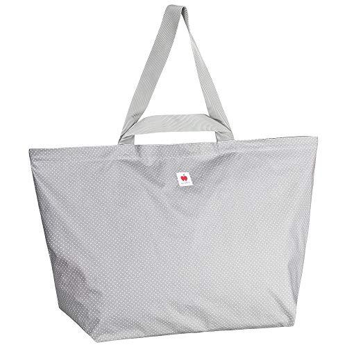 Große Badetasche, Strandtasche, Schwimmtasche, Shopper in Größe XXL, 60l, aus wasserabweisendem Wachstuch für die ganze Familie - Punkte grau