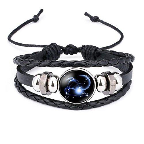 12 Sternzeichen Armband Glas Cabochon Horoskop Anhänger Silber Armschmuck Herren Armbänder Verstellbare Kette (Steinbock)