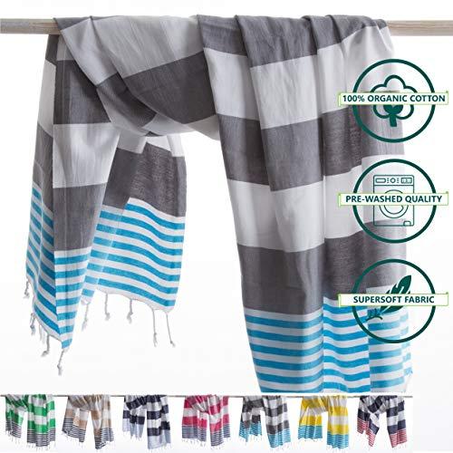 ANATURES Hamamtuch - Strandtuch 95x185cm Marina | Pre-Washed - Oeko-TEX® - Fairtrade - Gekämmte Bio Baumwolle | Saunatuch Badetuch Duschtuch Pestemal Fouta Pareo XL...