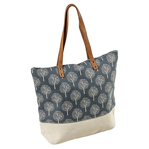 LaFiore24 Shopper Einkaufstasche Damen Umhängetasche Baum Strandtasche Badetasche Reissverschluss (beige-blau)