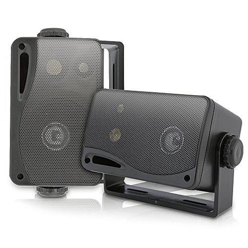 Pyle Wasserdichte Lautsprecher 3.5-Zoll-200-Watt 3-Wege Wetterfeste Mini Box, Schwarz, PLMR24B