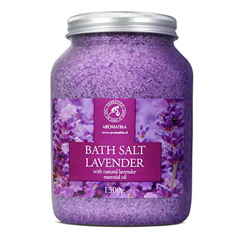 Badesalz Lavendel 1300g - Meersalz mit 100% Natürlichem Ätherischen Lavendelöl - Natur Bade-Salz am Besten für Guten Schlaf - Stressabbau - Baden - Entspannung -...