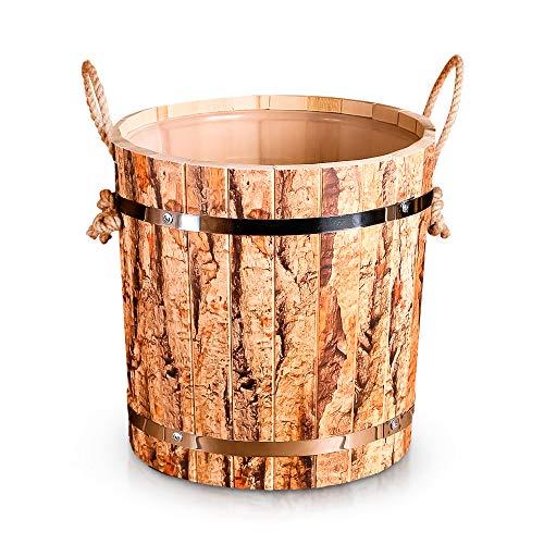 ZARENHOFF Saunakübel aus Linden-Holz mit Seilgriff, Sauna Aufgusseimer mit Kunststoffeinsatz - Saunazubehör Set 13 L