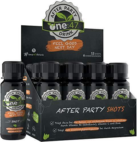 one:47® After Party Drink | 12 Shots | Basisches Elektrolyte Getränk + zusätzlich hochkonzentrierten Pflanzenextrakten, Vitaminen & Mineralstoffen | Feel good next day |...