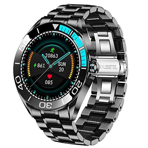 LIGE Herren Smart Watch, IP67 wasserdichte Fitness Tracker Uhren mit Herzfrequenz Blutsauerstoff Blutdruck Überwachun Voll Touchscreen Smartwatch Edelstahlband für Männer...