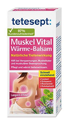 tetesept Muskel Vital Wärme-Balsam - Wärmende Rückensalbe mit ätherischen Ölen - Wärmecreme bei Verspannungen, Muskelkater und muskulärer Beanspruchung - 1 x 100 ml...