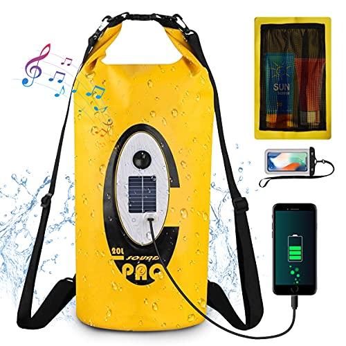 GreenSun Dry Bag 20L Wasserdichte Taschen mit Bluetooth Lautsprecher Packsack Wasserfester Rucksack Unterwasser Handytasche für Kajak Boot Angeln Rafting Schwimmen...