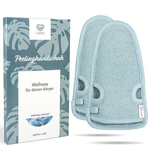 2 Stück - LoWell® - Peelinghandschuh rau inkl. Peeling-Guide + 2 x BONUS Saugnapf - LUXUS für deinen...