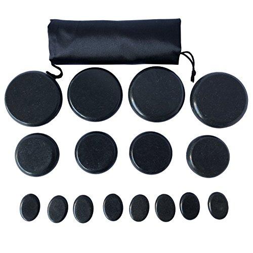 Oksano Massagesteine, 16 Stück, groß, heiß, warm, Hot Stone Massage-Set, Basaltstein, ideal für Spas, Massagetherapie, Entspannung