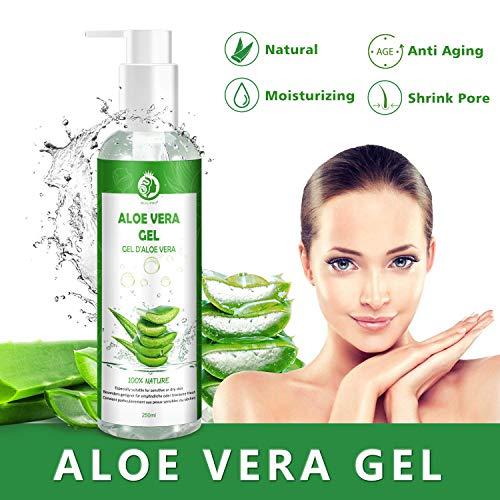 Aloe Vera Gel 100% Pur - für Gesicht, Haare und Körper - Natürliche, beruhigende und pflegende Feuchtigkeitscreme - Ideal für trockene, strapazierte Haut & Sonnenbrand -...
