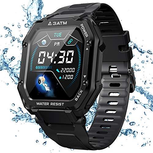 KOSPET Rock Smartwatch Wasserdicht 3ATM, 1,69 Zoll Sportuhr mit Blutdruckmessung, Herzfrequenz Messgerät, Schrittzähler Fitness Tracker, 14 Tage+ Spielzeit Outdoor Smart...