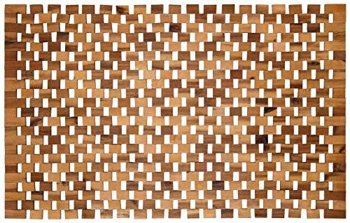 Badvorleger Holz   rutschfeste Badematte   Robuste Holzmatte für Badezimmer - Sauna & Wellnessbereich - Badteppich aus 100% Akazienholz – 50x80 cm