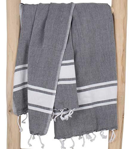 ZusenZomer Fouta Hamamtuch XXL Herren SOL 100x200 Grau - Hamam Badetuch Strandtuch Saunatuch Handtuch Pestemal Groß - Oeko-TEX 100% Baumwolle - Hochwertige Fair Trade...