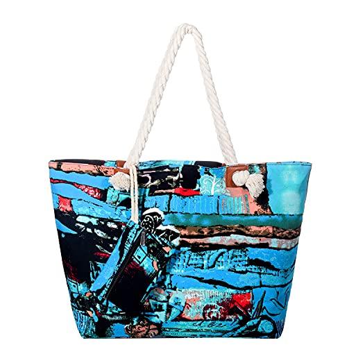 DonDon Große Strandtasche wasserabweisend mit...